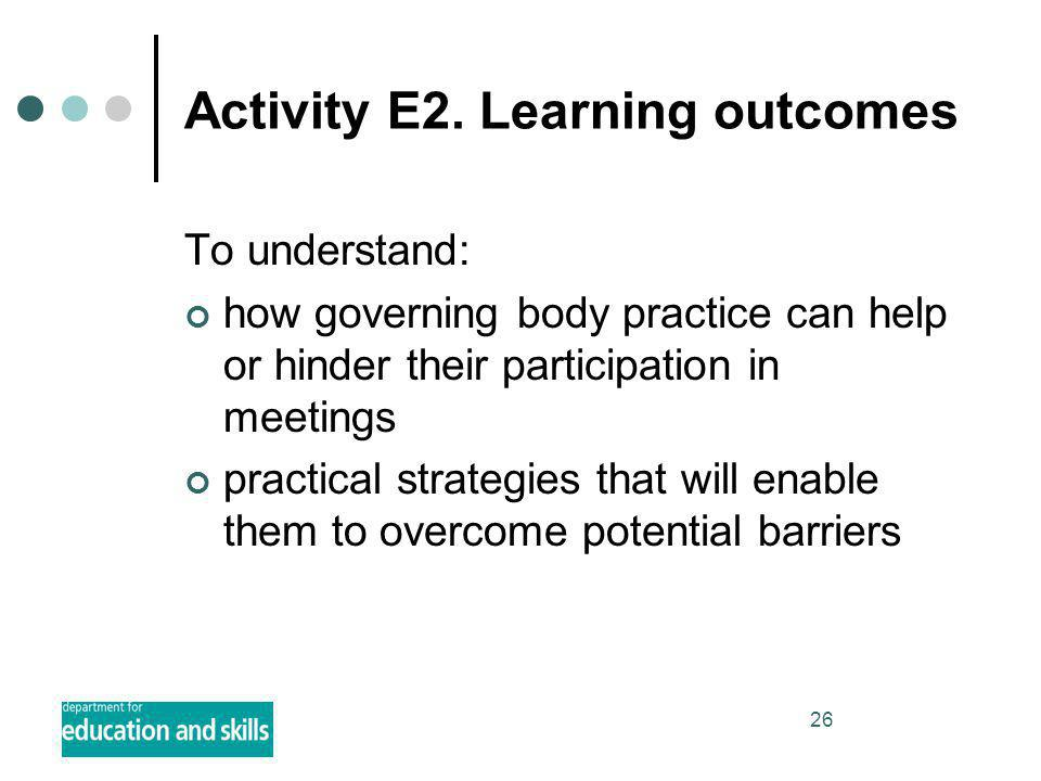 26 Activity E2. Learning outcomes To understand: how governing body practice can help or hinder their participation in meetings practical strategies t