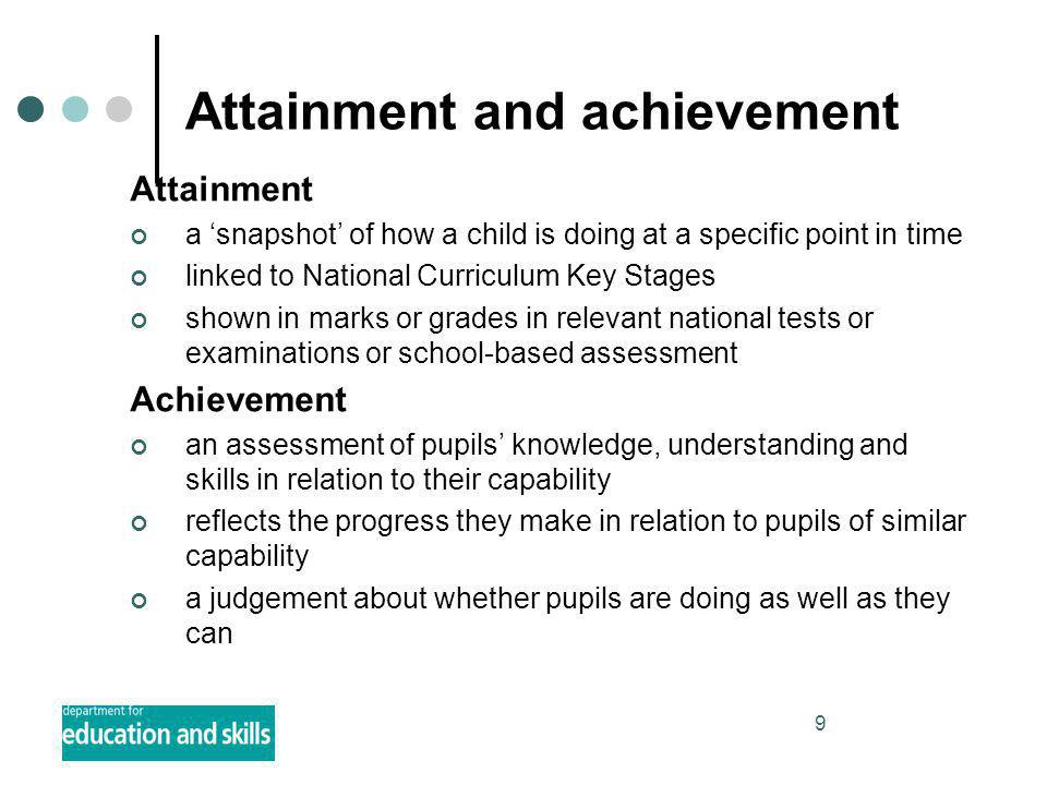 9 Attainment and achievement Attainment a 'snapshot' of how a child is doing at a specific point in time linked to National Curriculum Key Stages shown in marks or grades in relevant national tests or examinations or school-based assessment Achievement an assessment of pupils' knowledge, understanding and skills in relation to their capability reflects the progress they make in relation to pupils of similar capability a judgement about whether pupils are doing as well as they can