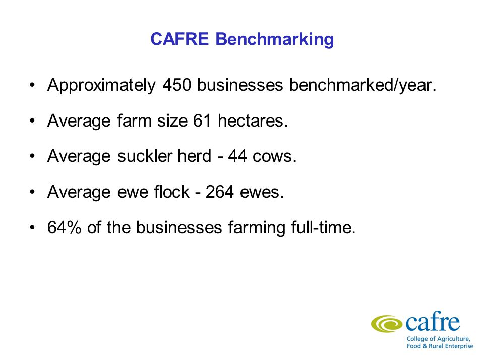 Trends in benchmarking On average the farms producing the highest amount of beef or lamb per hectare are making the highest gross margin per hectare.