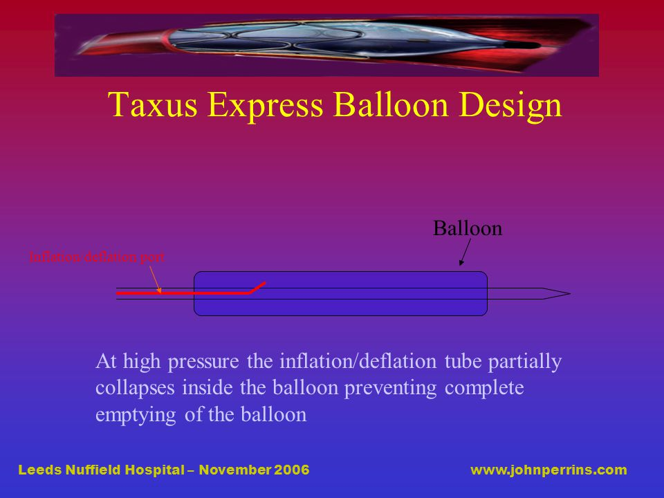 Leeds Nuffield Hospital – November 2006 www.johnperrins.com Taxus Express Balloon Design Inflation/deflation port Balloon At high pressure the inflation/deflation tube partially collapses inside the balloon preventing complete emptying of the balloon