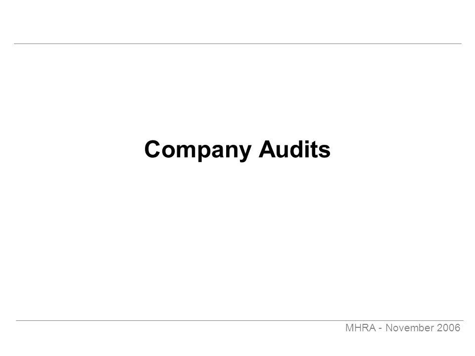 MHRA - November 2006 Company Audits