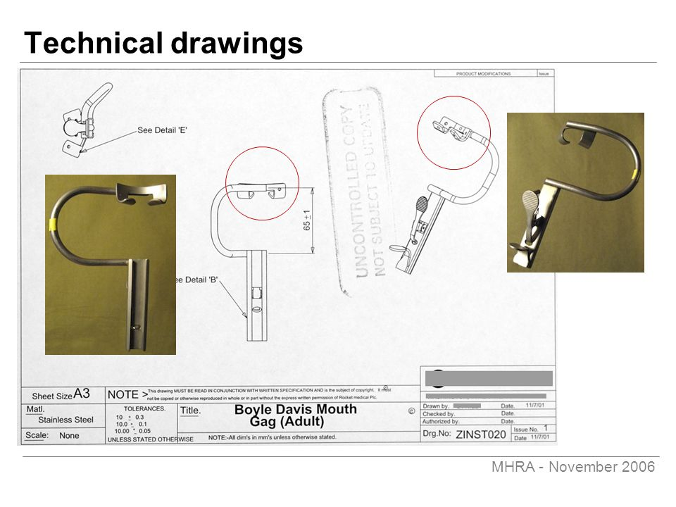 MHRA - November 2006 Technical drawings