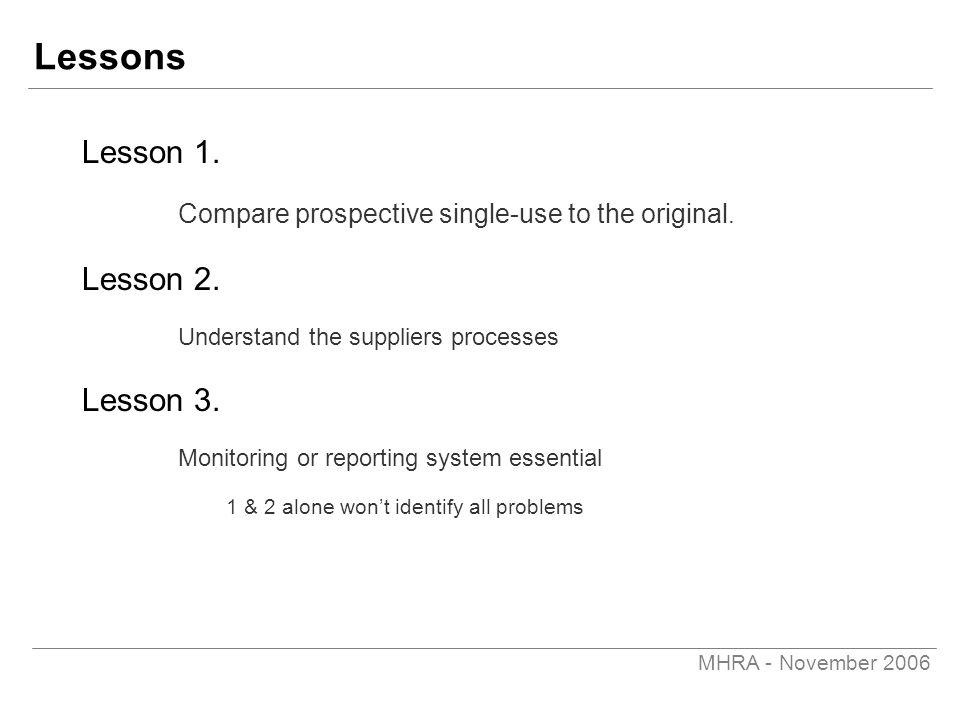 MHRA - November 2006 Lessons Lesson 1. Compare prospective single-use to the original. Lesson 2. Understand the suppliers processes Lesson 3. Monitori