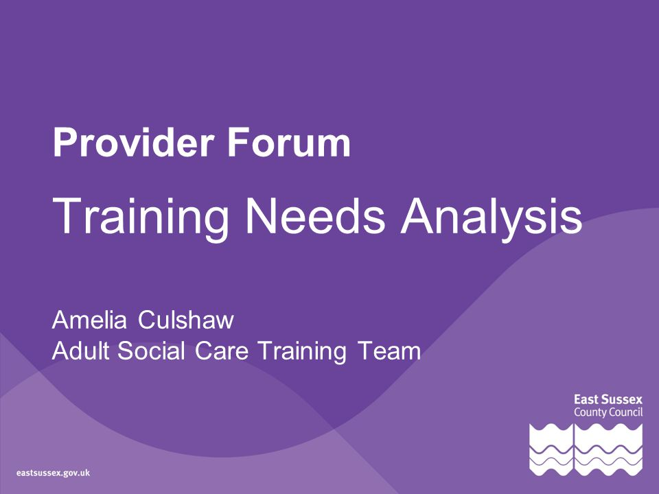 Provider Forum Training Needs Analysis Amelia Culshaw Adult Social Care Training Team