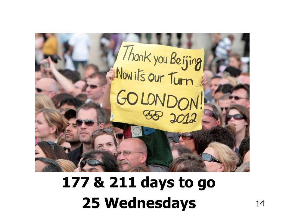 14 177 & 211 days to go 25 Wednesdays