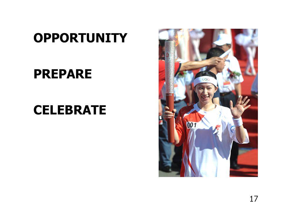 17 OPPORTUNITY PREPARE CELEBRATE
