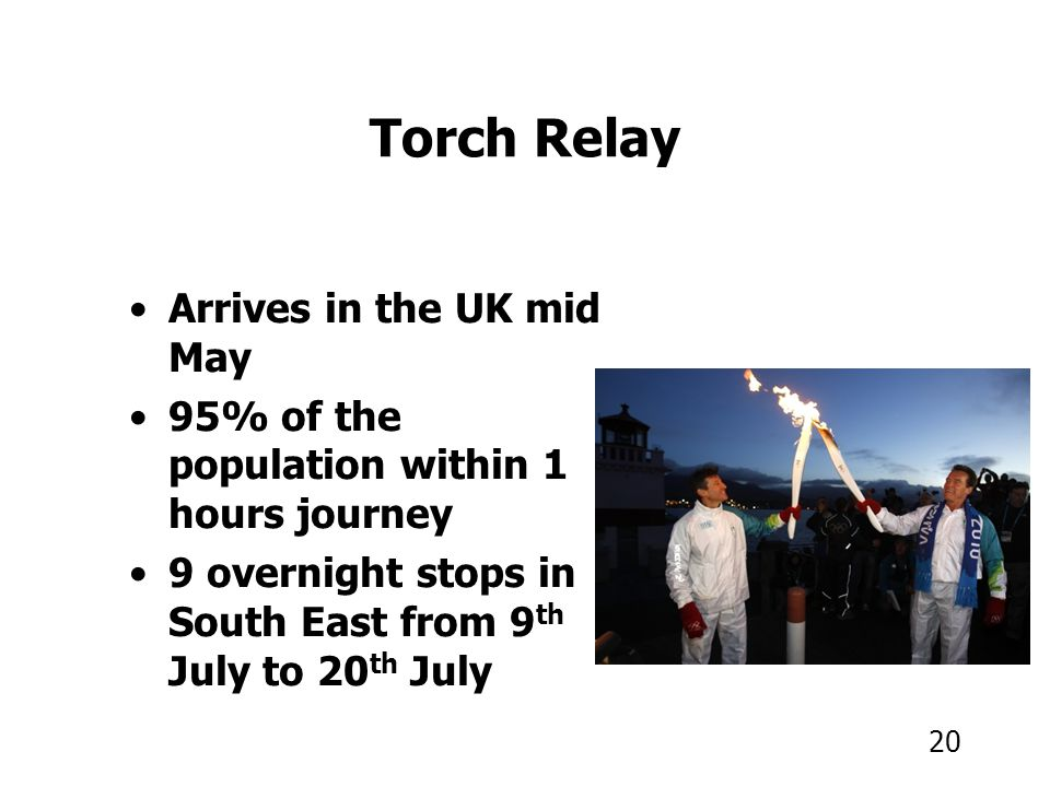 20 Torch Relay Arrives in the UK mid May 95% of the population within 1 hours journey 9 overnight stops in South East from 9 th July to 20 th July