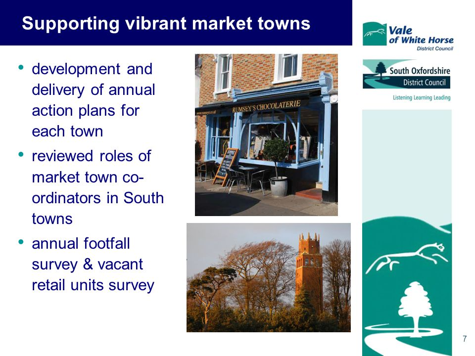 7 Supporting vibrant market towns development and delivery of annual action plans for each town reviewed roles of market town co- ordinators in South