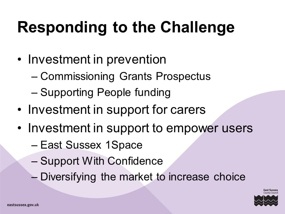 Responding to the Challenge Investment in prevention –Commissioning Grants Prospectus –Supporting People funding Investment in support for carers Investment in support to empower users –East Sussex 1Space –Support With Confidence –Diversifying the market to increase choice