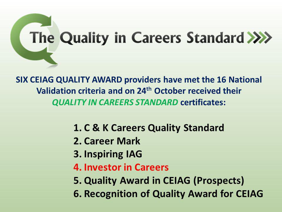 SIX CEIAG QUALITY AWARD providers have met the 16 National Validation criteria and on 24 th October received their QUALITY IN CAREERS STANDARD certifi