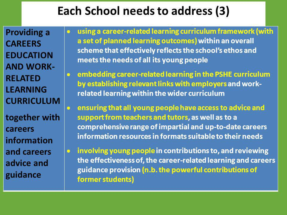 Each School needs to address (3) Providing a CAREERS EDUCATION AND WORK- RELATED LEARNING CURRICULUM together with careers information and careers adv