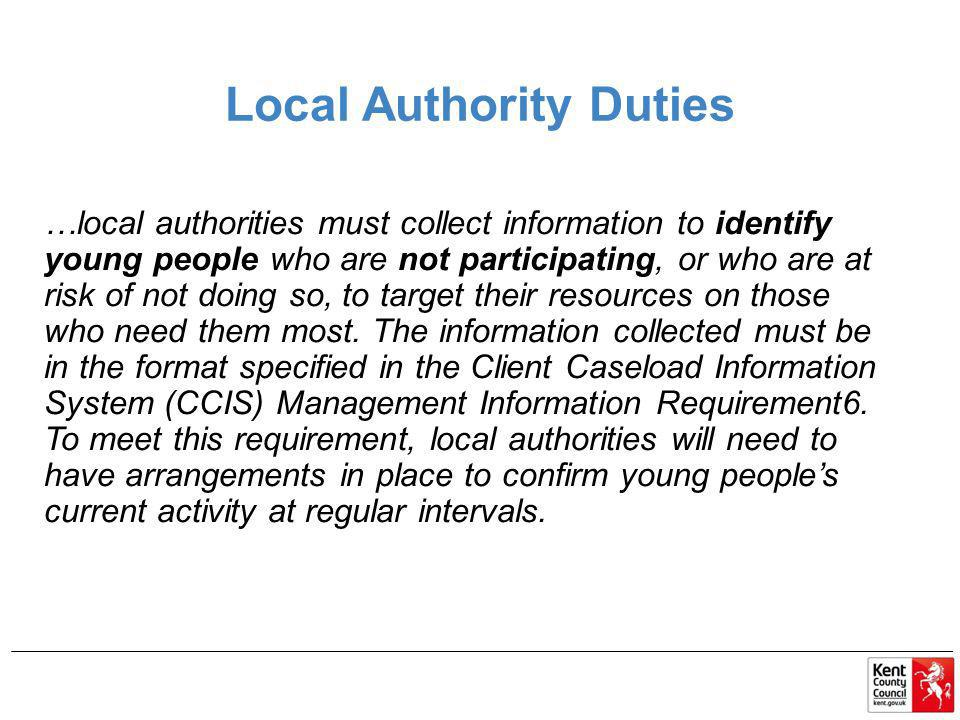 Local Authority Duties …local authorities must collect information to identify young people who are not participating, or who are at risk of not doing