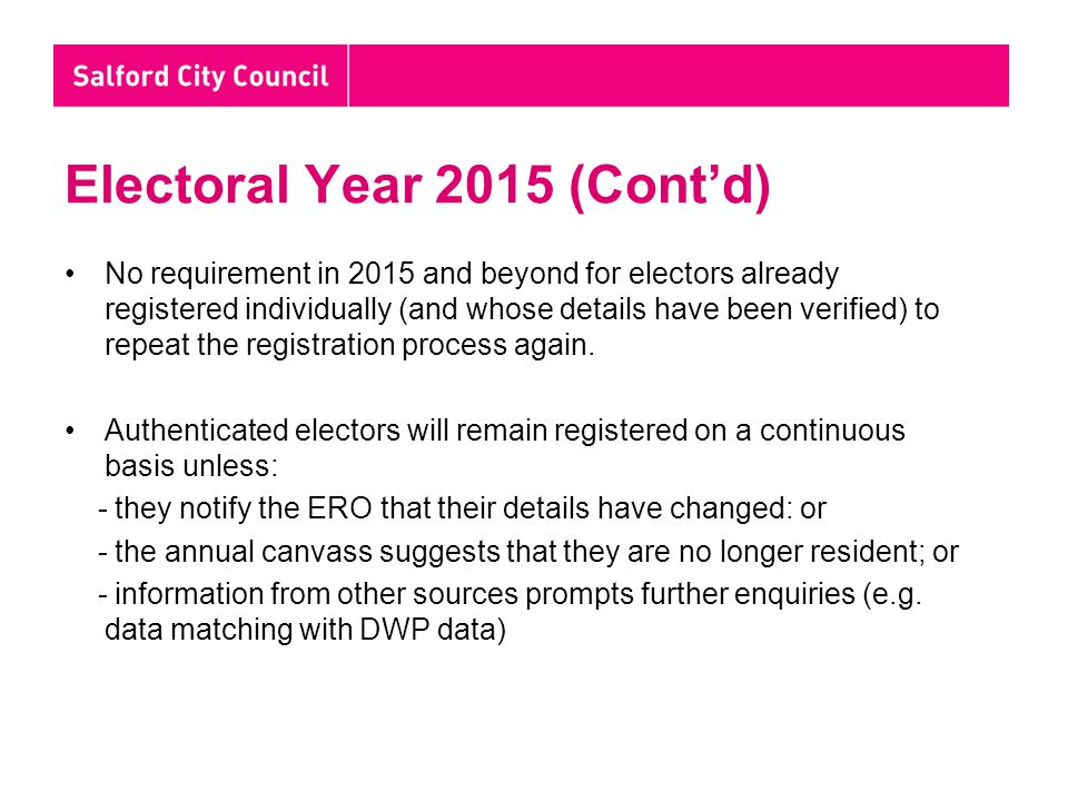 Electoral Year 2015 (Cont'd) No requirement in 2015 and beyond for electors already registered individually (and whose details have been verified) to repeat the registration process again.