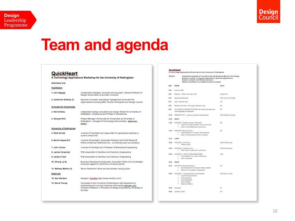 Team and agenda 16