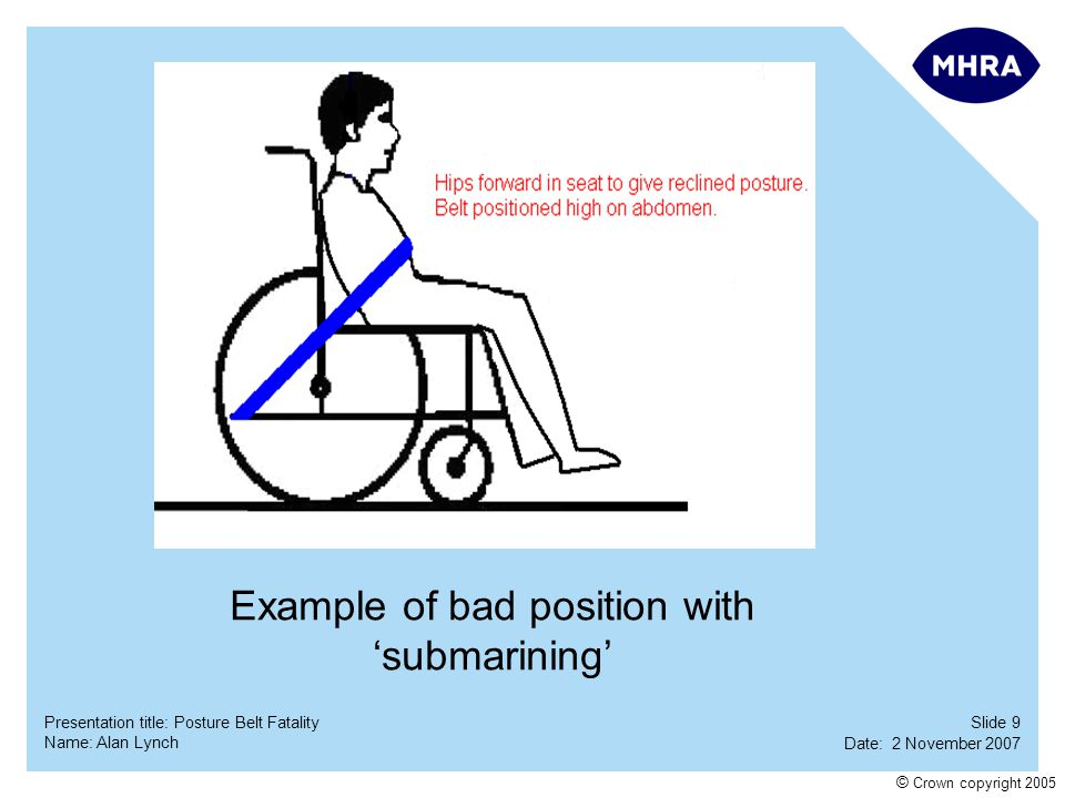 Slide 20 Date: 2 November 2007 Name: Alan Lynch Presentation title: Posture Belt Fatality © Crown copyright 2005 LAST QUESTION Who has not moved since the original request to sit up at the start of this presentation.