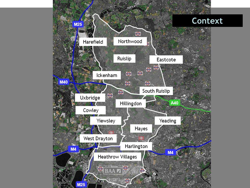 N Context M25 M4 M40 A40 Ruislip Harefield Harlington Hayes Yiewsley Uxbridge West Drayton Heathrow Villages Ickenham Northwood Yeading South Ruislip