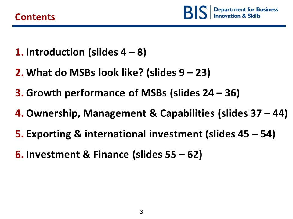 3 1.Introduction (slides 4 – 8) 2.What do MSBs look like? (slides 9 – 23) 3.Growth performance of MSBs (slides 24 – 36) 4.Ownership, Management & Capa