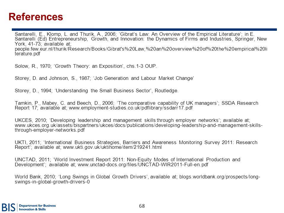 68 References Santarelli, E., Klomp, L. and Thurik, A., 2006; 'Gibrat's Law: An Overview of the Empirical Literature'; in E. Santarelli (Ed) Entrepren