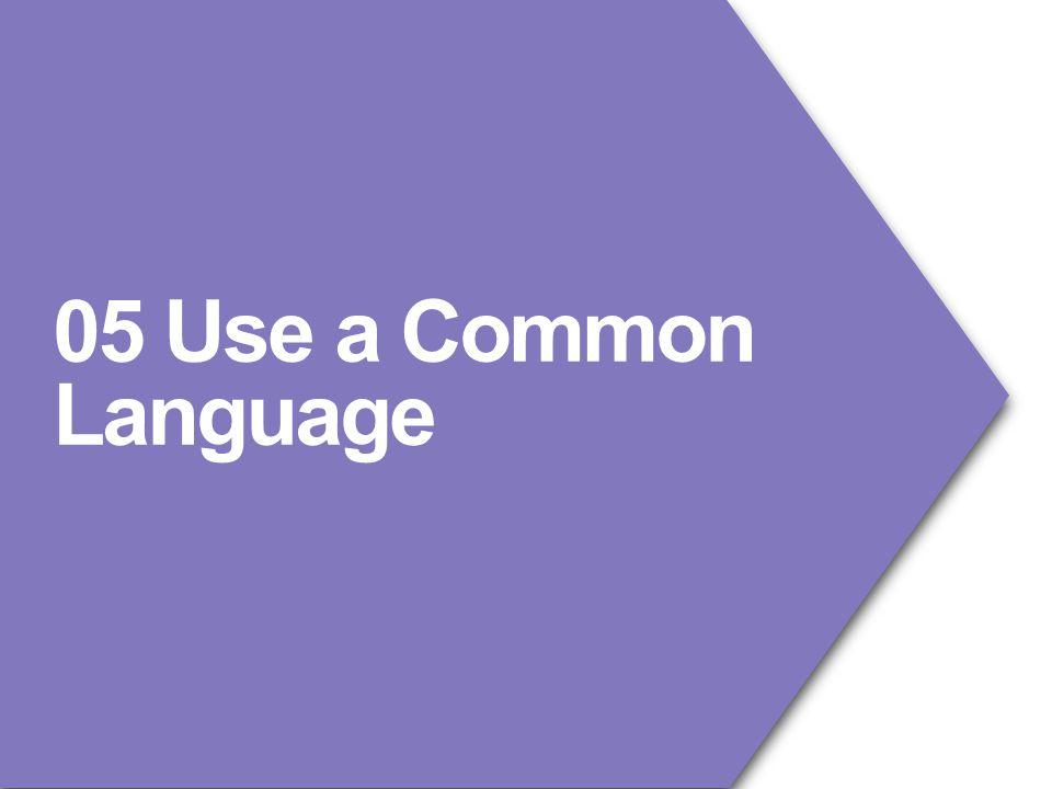 05 Use a Common Language
