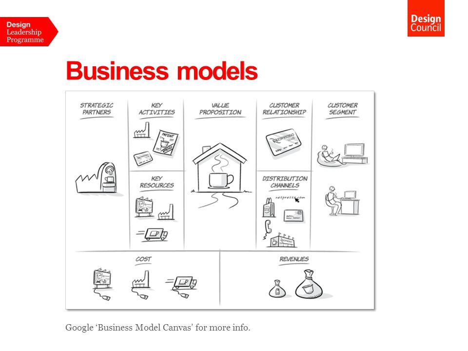 Business models Google 'Business Model Canvas' for more info.