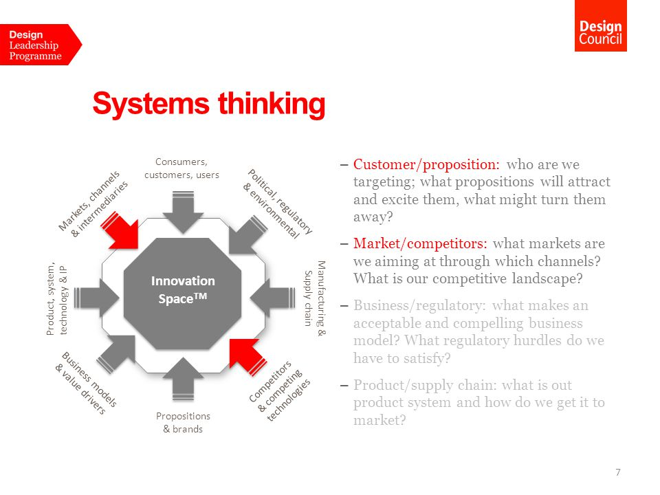 Systems thinking 7 – Customer/proposition: who are we targeting; what propositions will attract and excite them, what might turn them away.