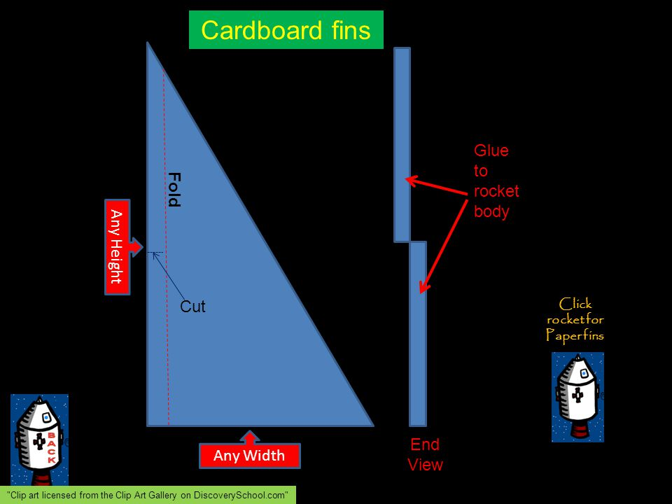 Any Width Any Height Fold Cut End View Glue to rocket body Cardboard fins Click rocket for Paper fins