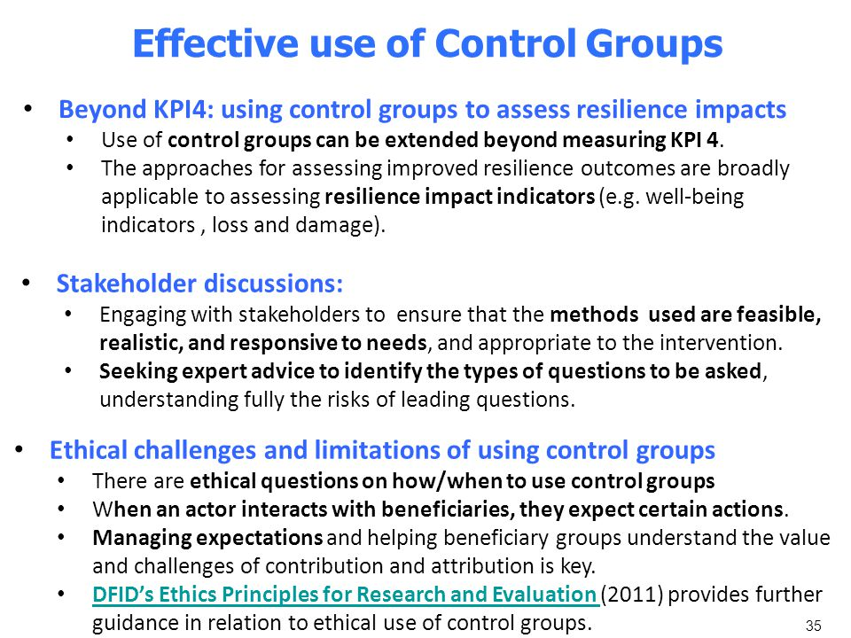 35 Effective use of Control Groups Ethical challenges and limitations of using control groups There are ethical questions on how/when to use control g