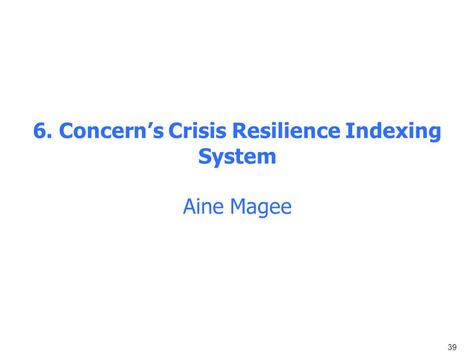 39 6. Concern's Crisis Resilience Indexing System Aine Magee
