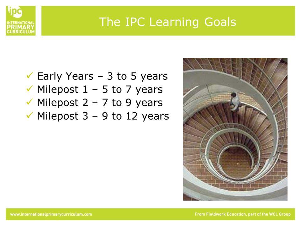 Early Years – 3 to 5 years Milepost 1 – 5 to 7 years Milepost 2 – 7 to 9 years Milepost 3 – 9 to 12 years The IPC Learning Goals