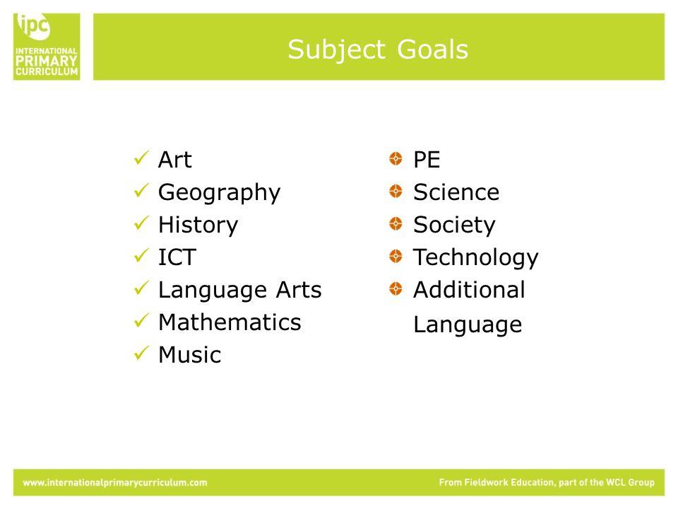 Art Geography History ICT Language Arts Mathematics Music PE Science Society Technology Additional Language Subject Goals