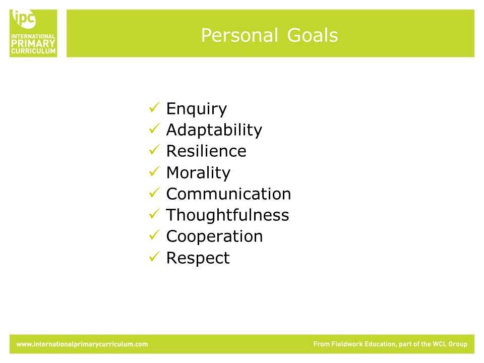 Enquiry Adaptability Resilience Morality Communication Thoughtfulness Cooperation Respect Personal Goals