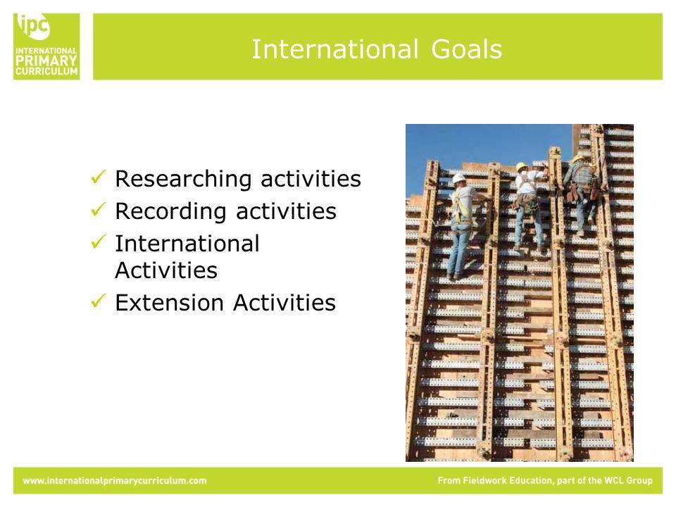 Researching activities Recording activities International Activities Extension Activities International Goals