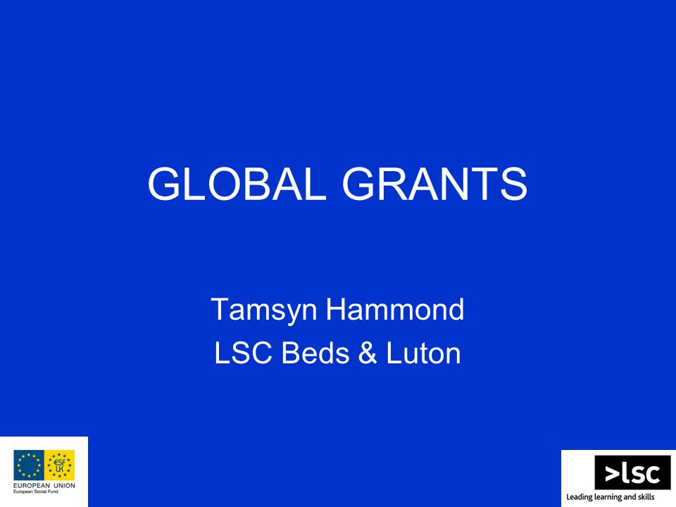 GLOBAL GRANTS Tamsyn Hammond LSC Beds & Luton