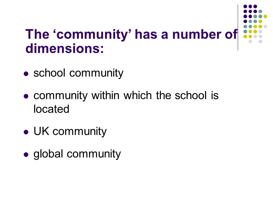 The 'community' has a number of dimensions: school community community within which the school is located UK community global community