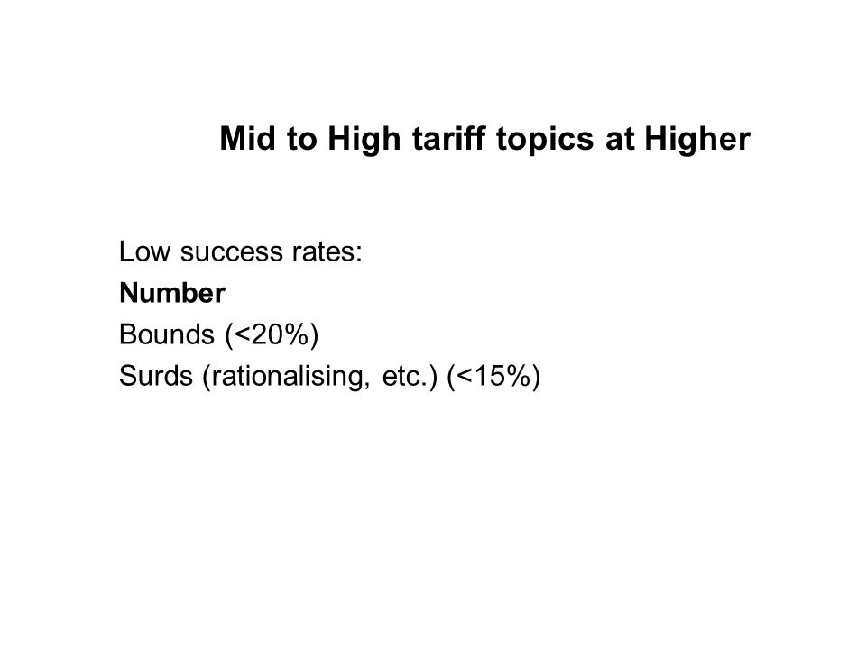 Mid to High tariff topics at Higher Low success rates: Number Bounds (<20%) Surds (rationalising, etc.) (<15%)