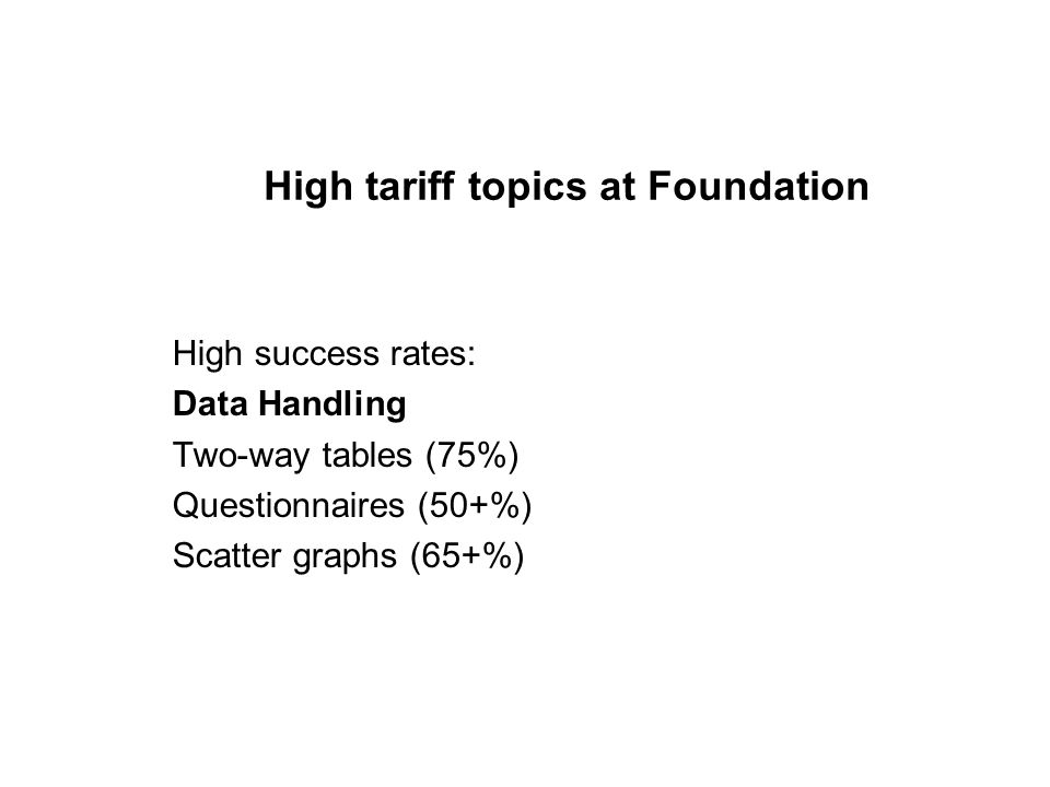 Mid to High tariff topics at Higher Low success rates: Shape and Space Use of Circle theorems (10-20%) Congruency proofs (5-10%) Trig graphs (10-20%) Vector algebra (5-15%) Complex mensuration (15-25%)