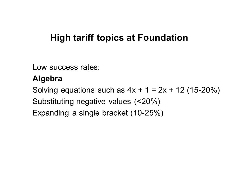 High tariff topics at Foundation Low success rates: Shape and Space Describing transformations (2-10%) 2D representations of 3D solids (25%) Constructions (10%) Area and circumference of a circle ( 2-10%)
