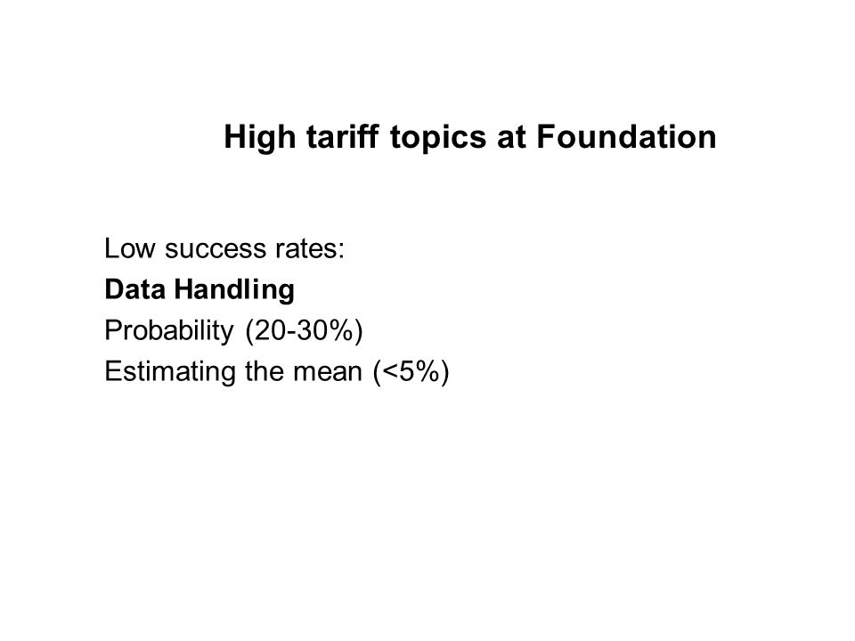 High tariff topics at Foundation Low success rates: Data Handling Probability (20-30%) Estimating the mean (<5%)