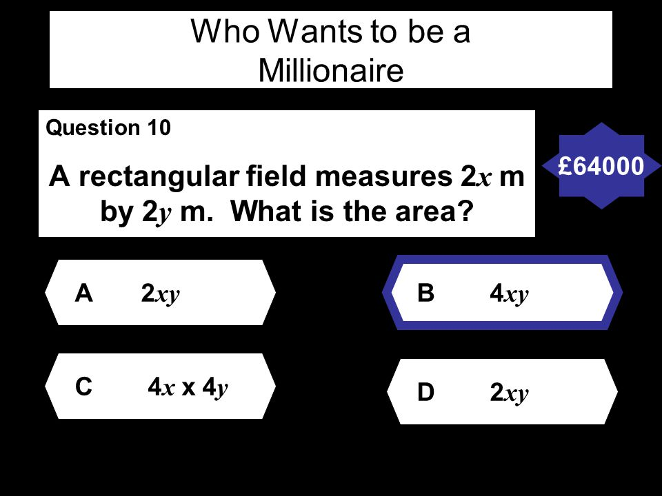 Who Wants to be a Millionaire Question 10 A rectangular field measures 2 x m by 2 y m.