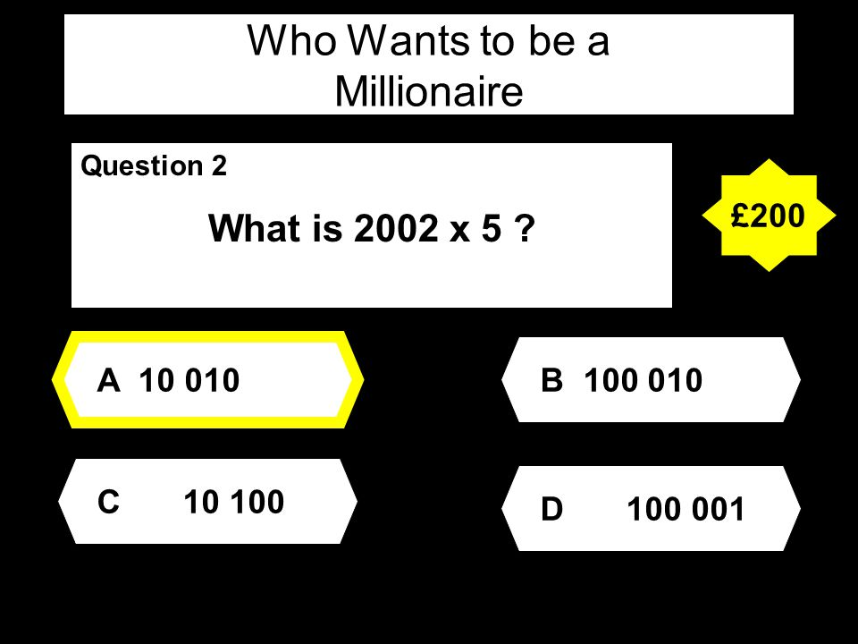 Who Wants to be a Millionaire Question 3 Which of the following are multiples of 5 .