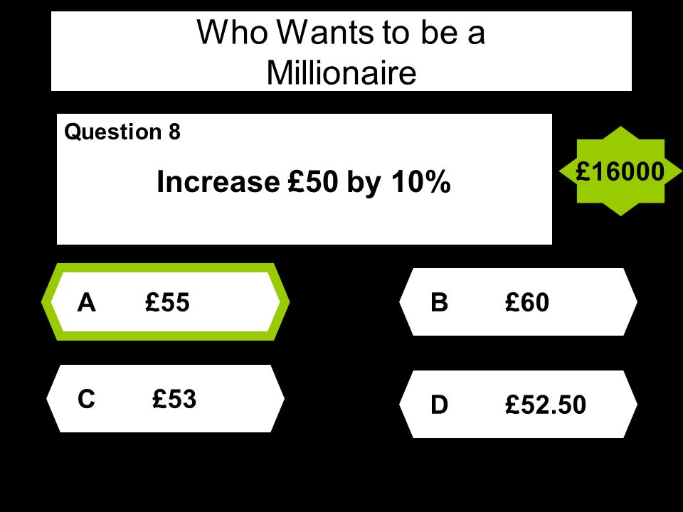 Who Wants to be a Millionaire Question 9 The sum of the angles of a pentagon is.