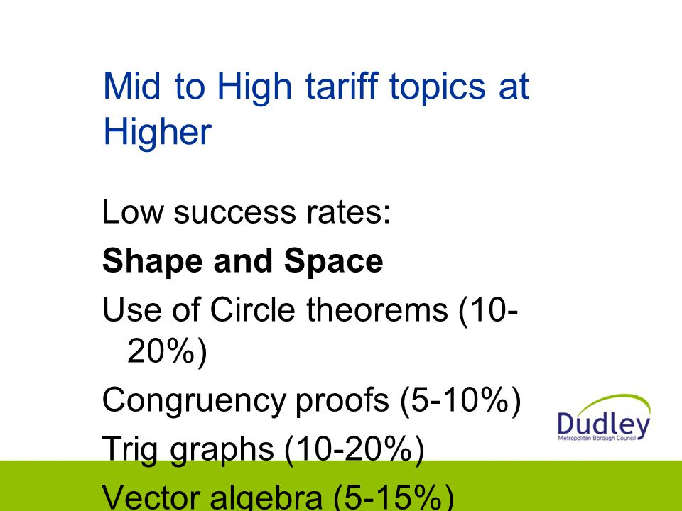 Mid to High tariff topics at Higher Low success rates: Shape and Space Use of Circle theorems (10- 20%) Congruency proofs (5-10%) Trig graphs (10-20%) Vector algebra (5-15%) Complex mensuration (15-25%)