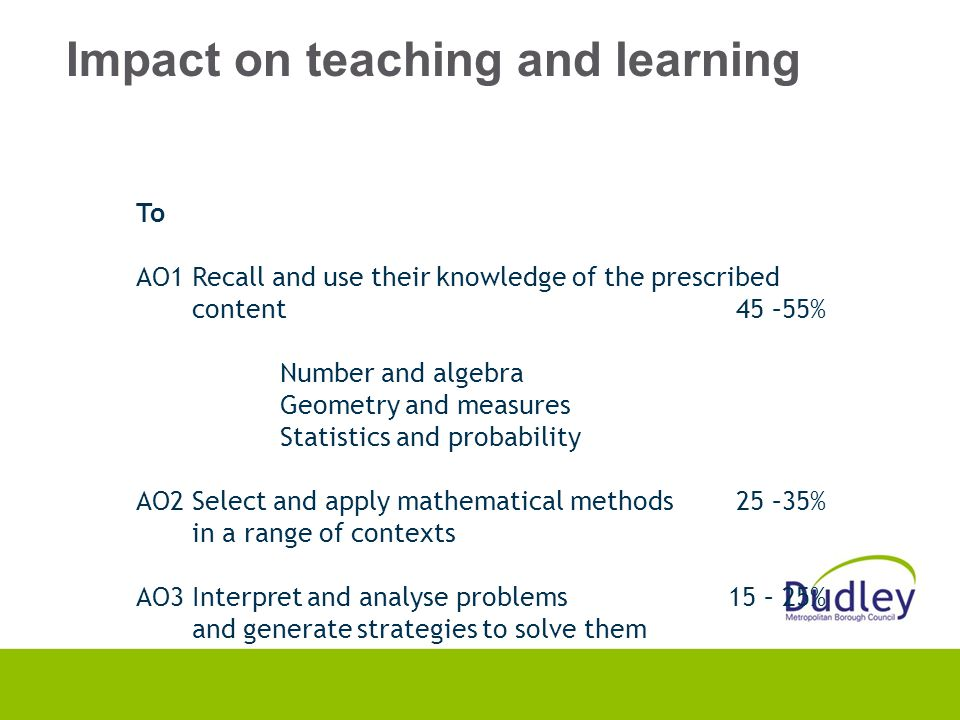 Impact on teaching and learning To AO1 Recall and use their knowledge of the prescribed content 45 –55% Number and algebra Geometry and measures Statistics and probability AO2 Select and apply mathematical methods 25 –35% in a range of contexts AO3 Interpret and analyse problems 15 – 25% and generate strategies to solve them