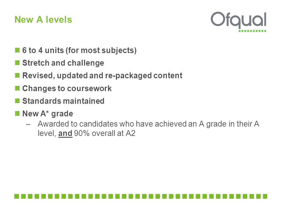 New A levels 6 to 4 units (for most subjects) Stretch and challenge Revised, updated and re-packaged content Changes to coursework Standards maintaine