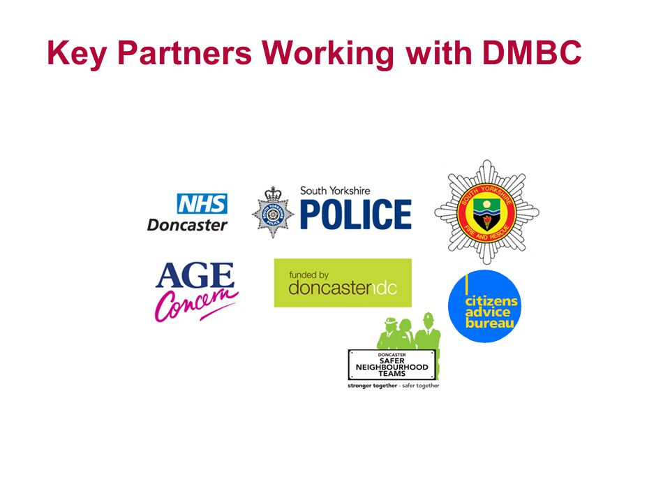 Key partners within DMBC Public Health Private Sector Housing Planning Energy Team Neighbourhood Team Neighbourhood Enforcement Team Resource Recovery Corporate Policy Performance and Change Team Grants Team Asylum Seeker Team Adult Services Communications Team Families First Team