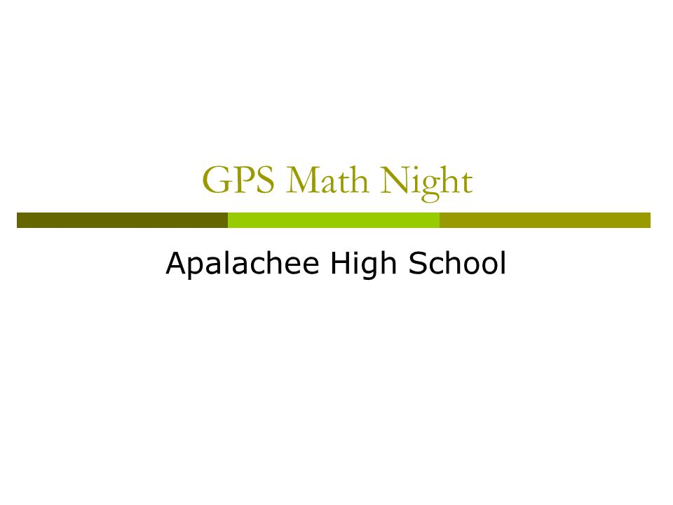 GPS Math Night Apalachee High School