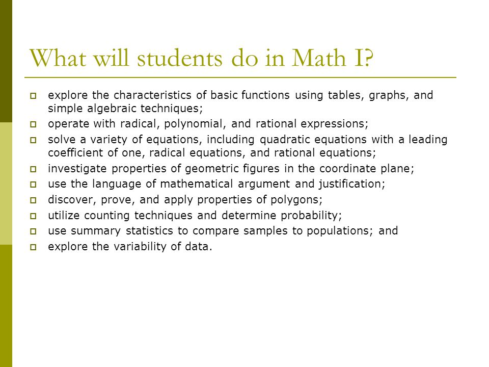 What will students do in Math I.
