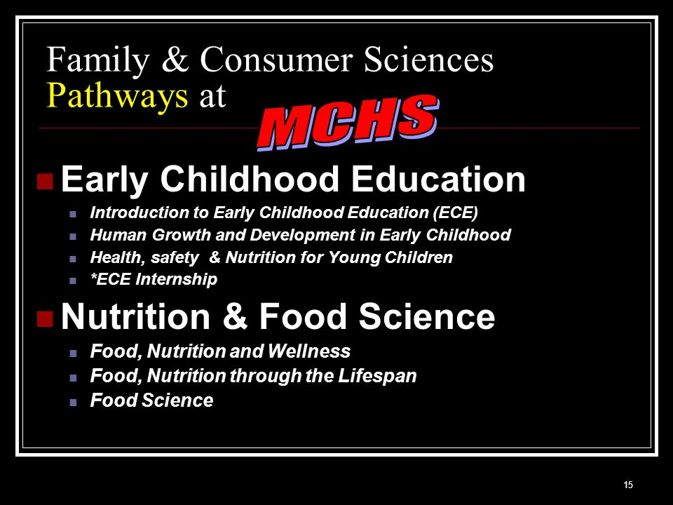 15 Family & Consumer Sciences Pathways at Early Childhood Education Introduction to Early Childhood Education (ECE) Human Growth and Development in Early Childhood Health, safety & Nutrition for Young Children *ECE Internship Nutrition & Food Science Food, Nutrition and Wellness Food, Nutrition through the Lifespan Food Science