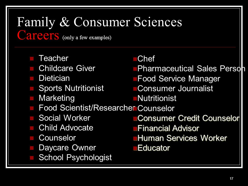 17 Family & Consumer Sciences Careers (only a few examples) Teacher Childcare Giver Dietician Sports Nutritionist Marketing Food Scientist/Researcher Social Worker Child Advocate Counselor Daycare Owner School Psychologist Chef Pharmaceutical Sales Person Food Service Manager Consumer Journalist Nutritionist Counselor Consumer Credit Counselor Consumer Credit Counselor Financial Advisor Financial Advisor Human Services Worker Human Services Worker Educator Educator