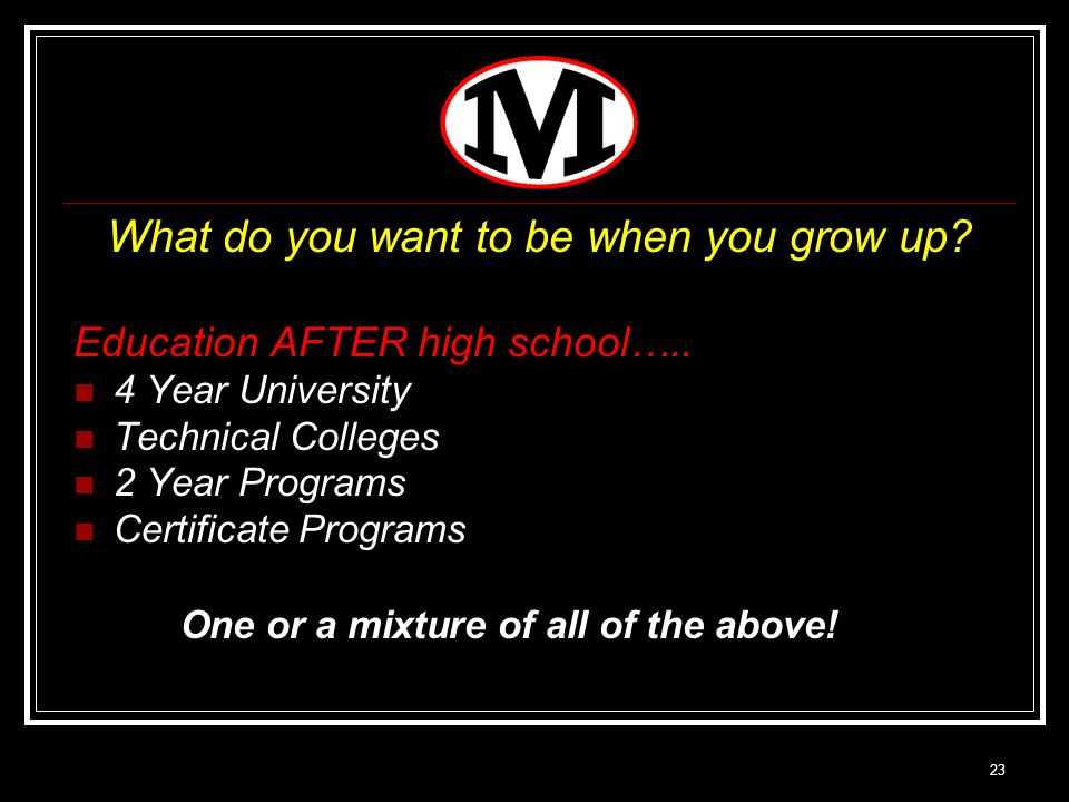 23 What do you want to be when you grow up. Education AFTER high school…..